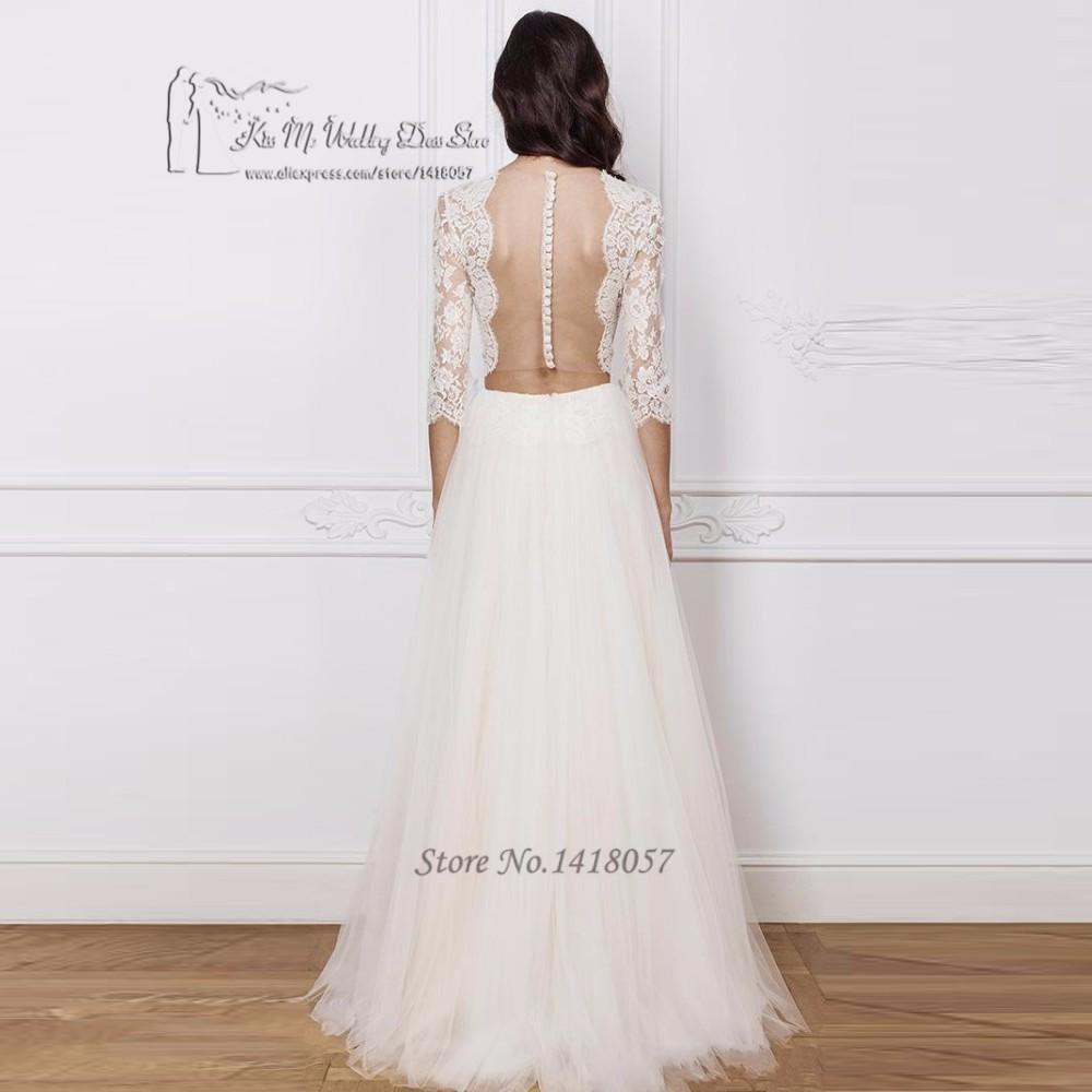 681099a0423 2 Piece Boho Wedding Dress Vintage Wedding Gowns A Line Lace Bride Dresses  2017 3 4 Sleeves Backless Vestidos de Noivas Gelinlik