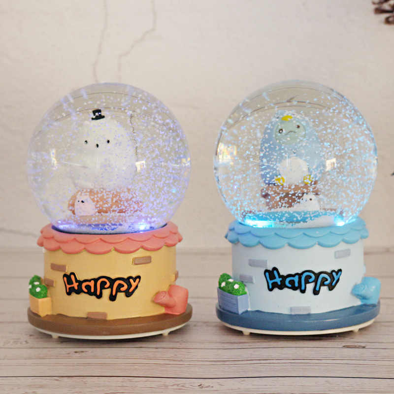 Crystal Ball Creative Snow Music Box Desk Ornaments Child Birthday Decoration Lighting Music Bell Water Polo Home Decor Gifts