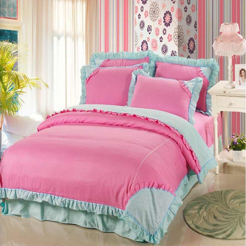 pink blue ruffle bedding korean bedding set princess bedding queen size 4pc quality cotton girls. Black Bedroom Furniture Sets. Home Design Ideas