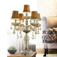 Işıklar ve Aydınlatma'ten Masa Lambaları'de Uzun kristal şamdan lambaları düğün 5 cam silah masa lambası mumluk LED ampul masa lambaları altında masa lambası