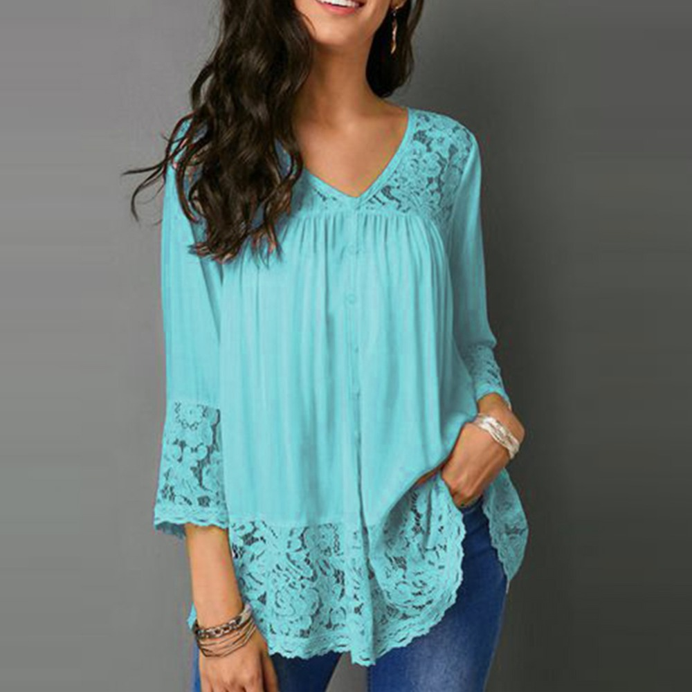 Casual Fashion Lace Splicing Three-quarter Sleeve V-Neck Women Loose Top S-5XL