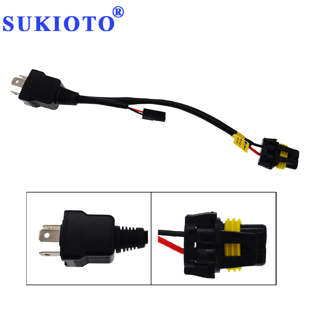SUKIOTO 20PCS Bixenon H4 Controller Relay Harness Socket Extend Cable HID Projector Lens 35W 55W h4 hi / lo xenon control Wire