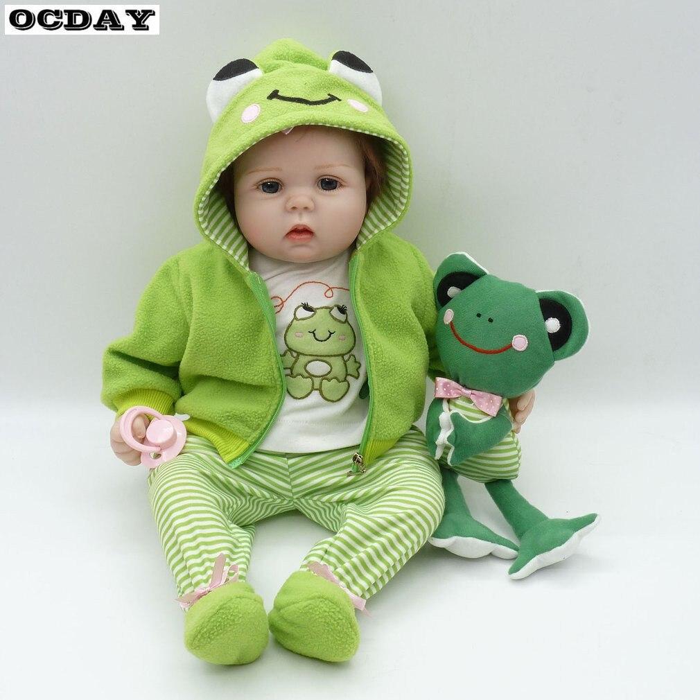 50/55/56 cm tissu corps doux Silicone vinyle bébé poupée bébé Reborn bébé poupée jouet Playmate cadeau Non toxique sûr à la main bébé poupée
