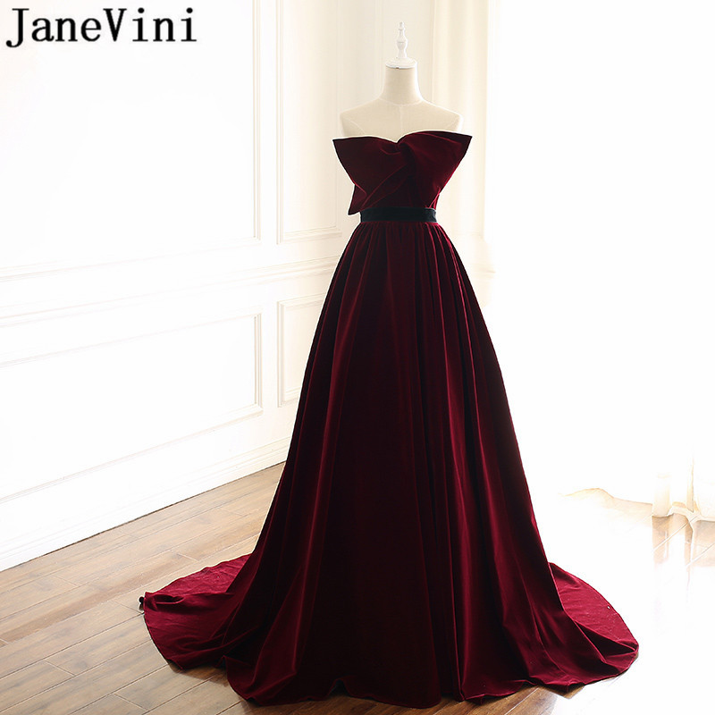 JaneVini Vintage Burgundy   Bridesmaid     Dress   Strapless Big Bow Backless 2019 Prom   Dresses   A Line Velvet Long Wedding Guest   Dress