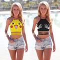 De Las Mujeres del verano de Dibujos Animados Camiseta de Cultivos Pokeball Pikachu Cuello Halter Backless Tank Top Crop Tops For Ladies Sexy Sin Mangas de la Camisa