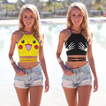 Verão Mulheres Tanque Colheita Top Pokeball Pikachu Dos Desenhos Animados Halter Neck Backless Parte Superior Do Tanque Colheita Tops Para Senhoras Sexy Camisa Sem Mangas