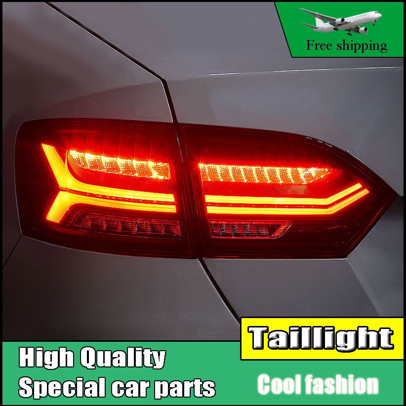 Car Styling Tail lamp For Volkswagen VW Jetta MK6 TailLight 2012-2014 LED DRL Moving Yellow Turn Signal Reverse light Rear Lamp free shipping china vland car led tail lamp for 2008 2015 mitsubishi lancer a6l style taillight with led moving signal light