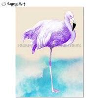 New Astratta Flamingo Pittura A Olio Su Tela Viola Uccello Pittura A Olio Per La Decorazione Della Parete Fenicotteri Pittura Per Soggiorno