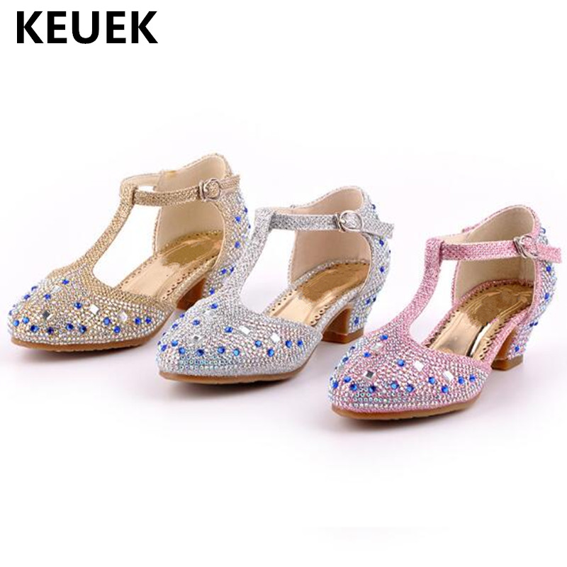 New Children Rhinestone Performance Dance Shoes Girls Princess Student Leather Shoes Kids Baby Toddler High-heeled Shoes 02A