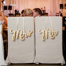 2pcs/set Rustic Wedding Sign Decor Ideas For Mr & Mrs Chairs Hanging Signs Mariage Party Decorations Wood Decoration