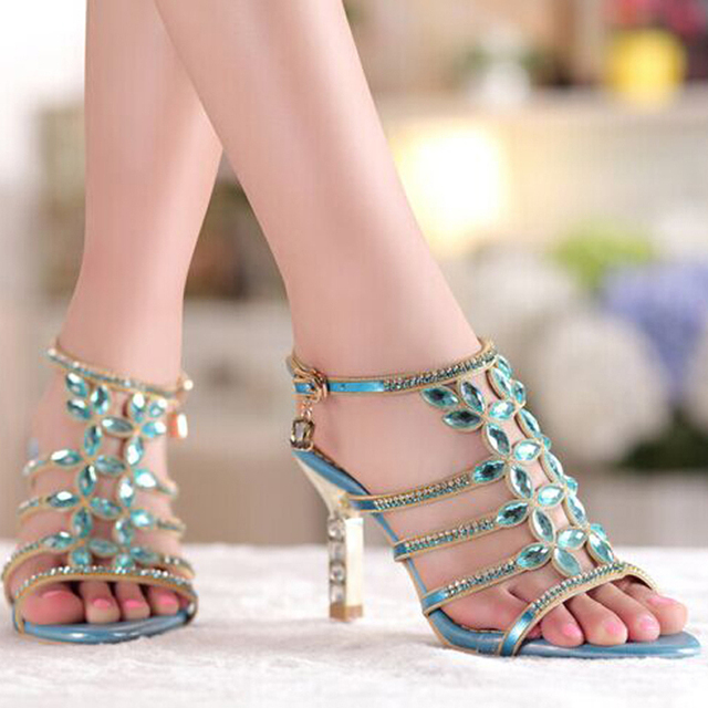 Floral Gold Sky Blue Colors Rhinestones High Heels Sandal Prom Evening Party Shoes Dress For Women Lady Bridal Wedding Shoes