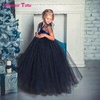Navy Blue Diamond Kids Dresses for Girls Halloween Tutu Dress Black,Cream Flower Girl Dress Elegant Girl Evening Party Dresses