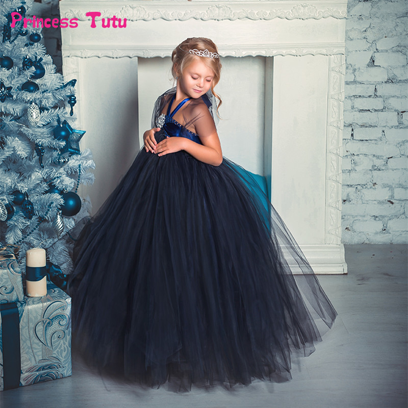 Navy Blue Diamond Kids Dresses for Girls Halloween Tutu Dress Black,Cream Flower Girl Dress Elegant Girl Evening Party Dresses adjustable shoulder straps handmade crochet dress navy blue and royal blue girl tutu dress