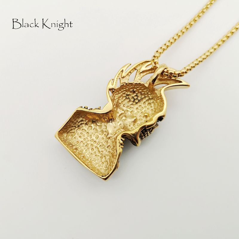 Black Knight Hip Hop rock punk skull pendant necklace mens cool Gold color stainless steel punk skull necklace fashion BLKN0736 in Pendant Necklaces from Jewelry Accessories