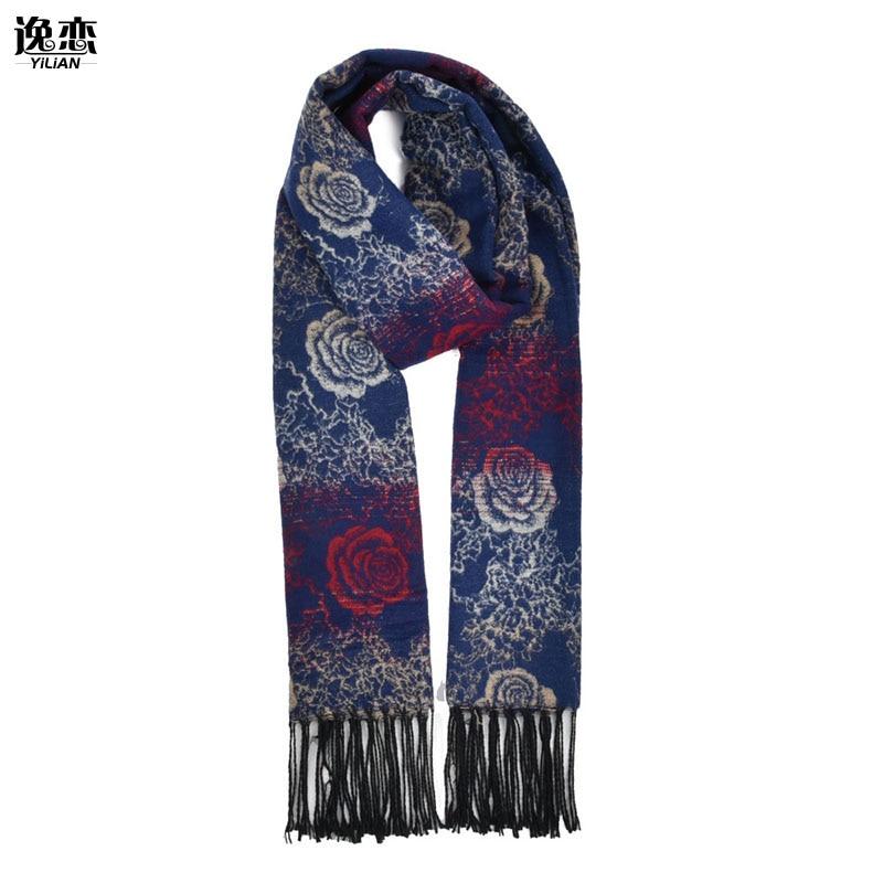YILIAN Brand New Flower Print Wool Women Scarf With Tassel Newest Design Fashion Soft Warm Winter Long Lady Scarf SF855