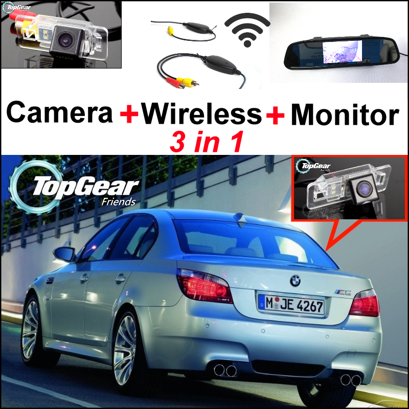 ФОТО 3in1 Special WiFi Camera + Wireless Receiver + Mirror Screen Easy DIY Back Up Parking Rear View System For BMW 5 M5 E39 E60 E61