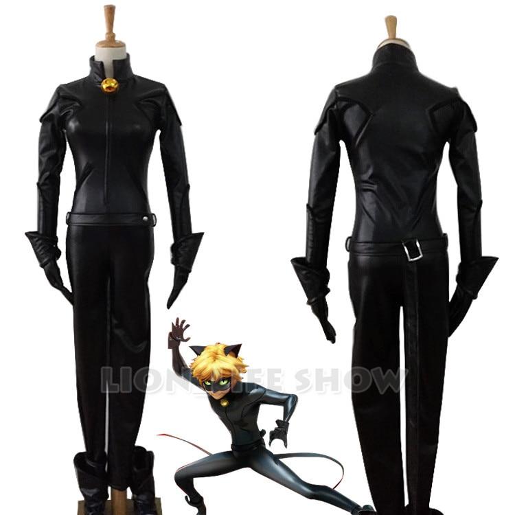 Adrien Agreste Black Cat Noir Catsuit Cosplay Costume + Mask Halloween Cosplay