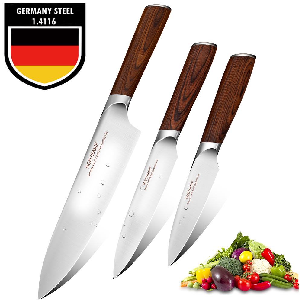 3pcs Japanese Chef Knives Set Professional Kitchen Knife Germany 1.4116 High Carbon Steel Vegetable Utility Knife For Cooking