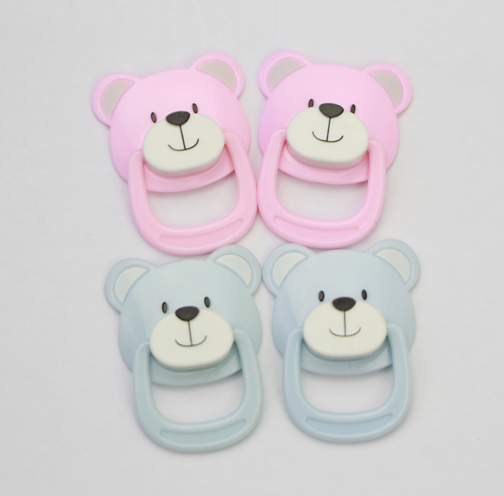 2 pcs Cartoon Bear Pacifier Blue or Pink Plastic PVC Reborn Baby Doll Accessories Fit For Magnetic Mouth Doll Nipple Hot Sale