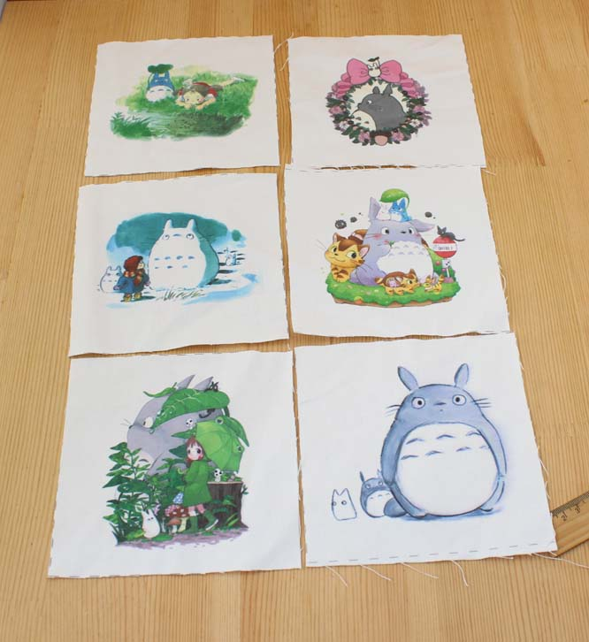 Totoro 6pcs 15*15cm Canvas Hand-Dyed Print Fabric Diy Handmade Sewing Craft Patchwork Scrapbooking Fabric For Metal Purse Frame