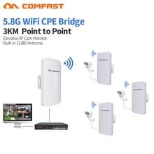 2Pc COMFAST CF E120AV3 3KM 300Mbps 5.8Ghz 옥외 소형 무선 AP 교량 WIFI CPE 접근 지점 11dBi wi fi 안테나 Nanostation