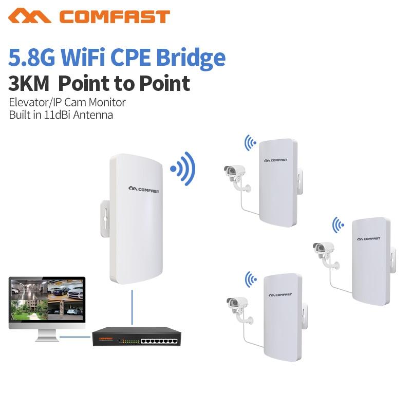 2Pc COMFAST CF-E120AV3 3KM 300Mbps 5.8Ghz Ponto de Acesso AP Bridge WI-FI CPE Ao Ar Livre Sem Fio Mini 11dBi WI-FI Antena Nanostation