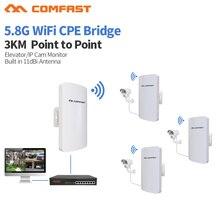 COMFAST CF E120AV3 Mini station sans fil, 3KM 300Mbps 5.8Ghz, extérieur, Point daccès, WIFI, CPE, 11dBi, antenne WI FI, 2 pièces
