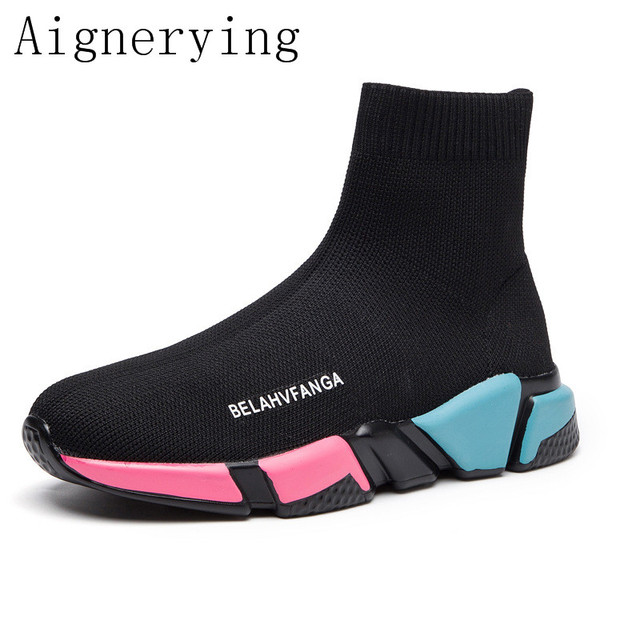 Sock Boots Woman Hided Wedge Platform Female Casual Shoes New Wedge Lady Knitting Short Ankle Platform Runing Shoes