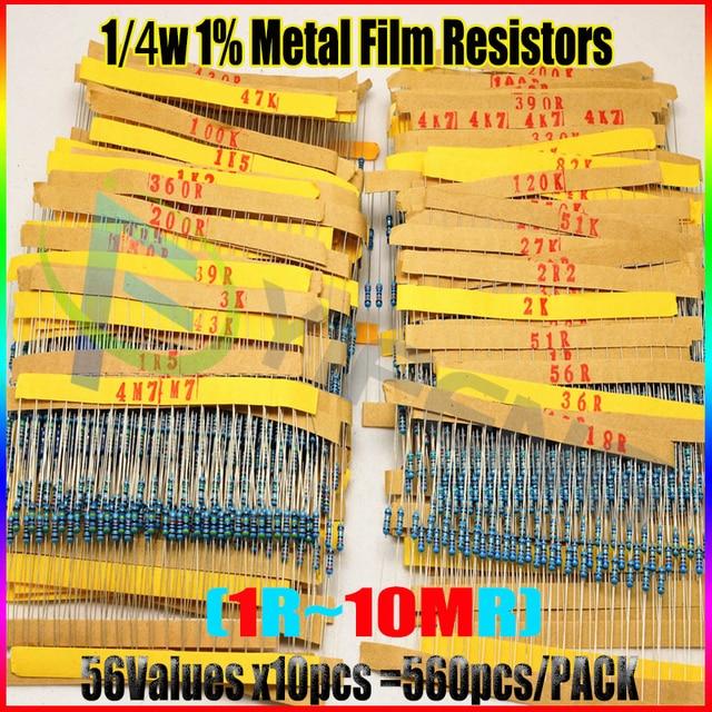 NEW 560pcs 56 Values 1/4W 1% Metal Film Resistors Assorted Kit Set 1 ohm ~ 10M ohm