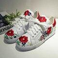 Женские Квартиры Эспадрильи Обувь Из Натуральной Кожи Китайская Традиционная Вышивка Досуг Обувь, босоножки, Цветочные Обувь для Женщин