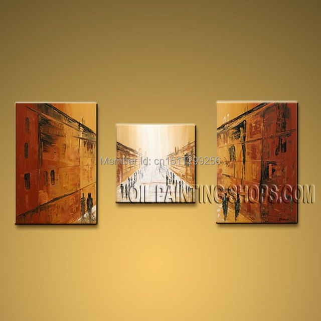 Hand Painted Triptych Modern Abstract Painting Wall Art Decoration ...