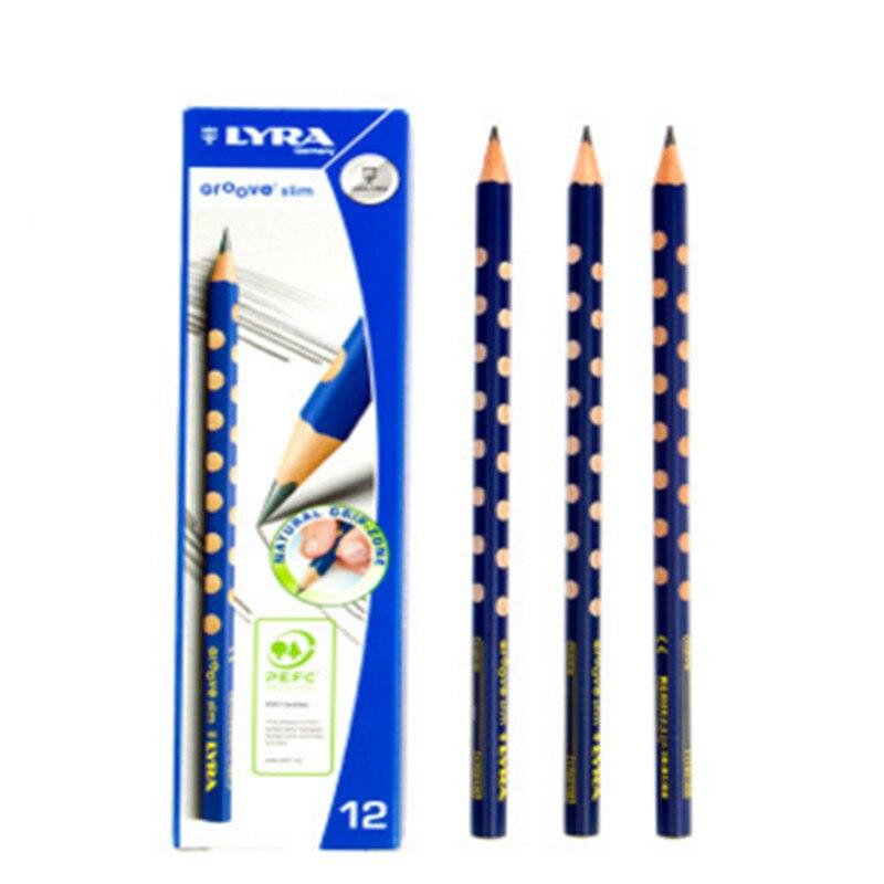 Lyra Groove Slim Lead Child HB Wood School Triangle Pencil 12 PCS/BOX Standard Pencils 10pcs 175mm standard carpenters pencils wood black carpenter pencil woodworking elliptical pencil yx l057 new hot