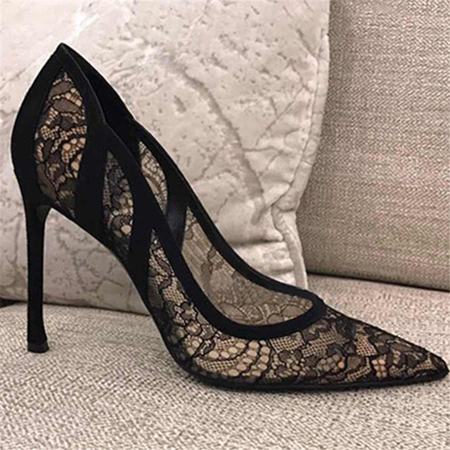 c956fdae419 Lace Mesh High Heels Shoes Pumps Black Stiletto Pointed Toe Sandals Sexy Women  Shoes Designer Zapatos