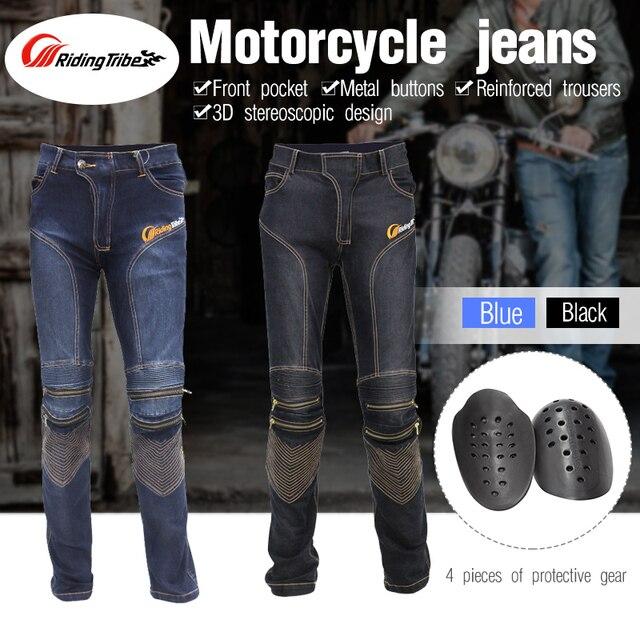 7a55728e9b6fd Tribu de montar Motocicleta Pantalones de Montar Pantalones Protección  Pantalones Vaqueros Moto Moto Motocross Cow Boy