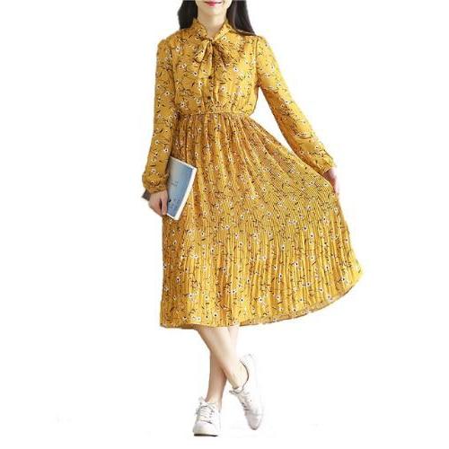 flower sweet lace-up pleated chiffon long sleeve long dress