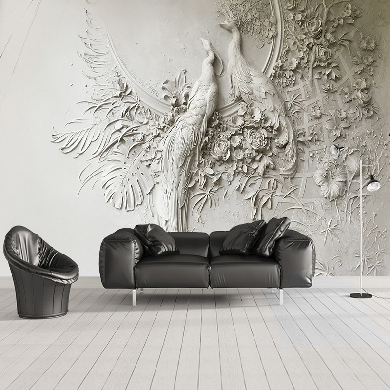 Custom Mural Wallpaper 3D Embossed Peacock Wall Painting Modern Art Living Room TV Sofa Bedroom Backdrop Wall Covering 3D Fresco