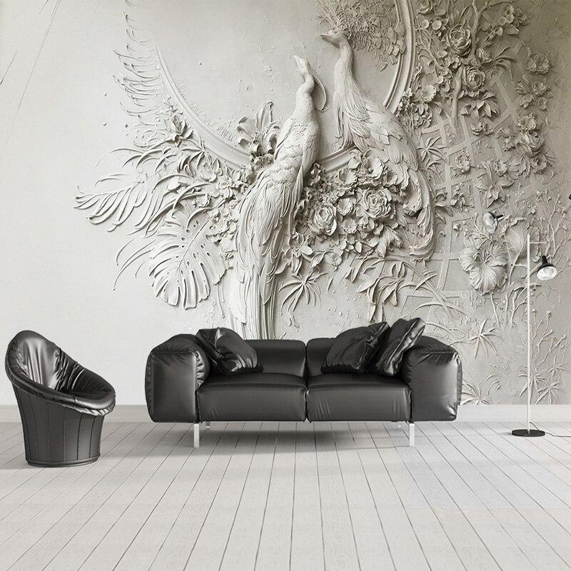Gut Nach Wandbild Tapete 3D Geprägt Pfau Wand Malerei Moderne Kunst Wohnzimmer  TV Sofa Schlafzimmer Hintergrund Wand Abdeckt 3D Fresko