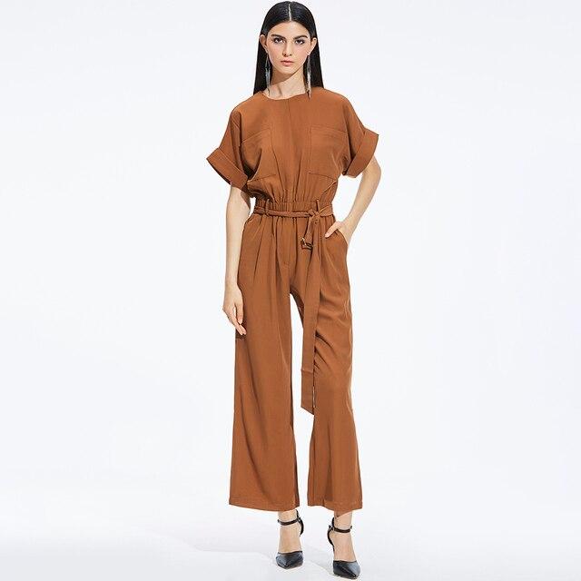 59042b6d31e6 Women jumpsuit long summer coffee short sleeve casual jumpsuit jpg 640x640 Long  summer rompers