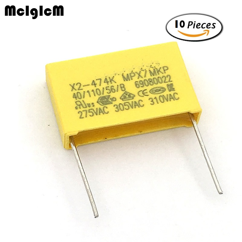MCIGICM 10pcs 470nF Capacitor X2 Capacitor 275VAC Pitch 22.5mm X2 Polypropylene Film Capacitor 0.47uF