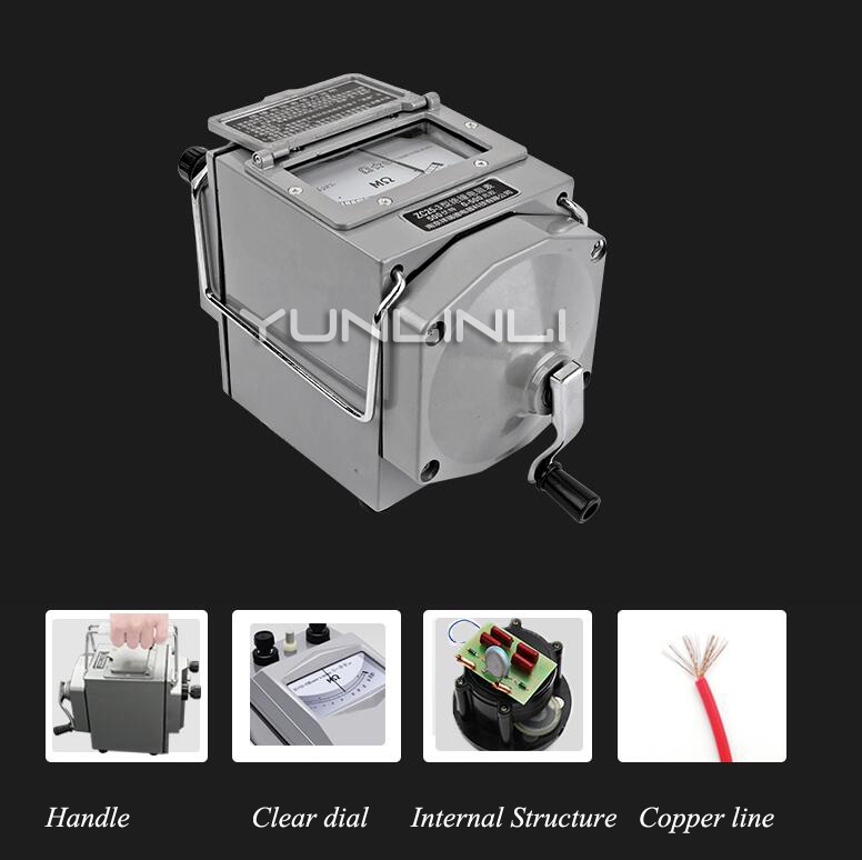 Мегаомметр тестер сопротивления изоляции Электрический измеритель сопротивления, оборудование, 1000 в алюминиевый корпус Zc25-4