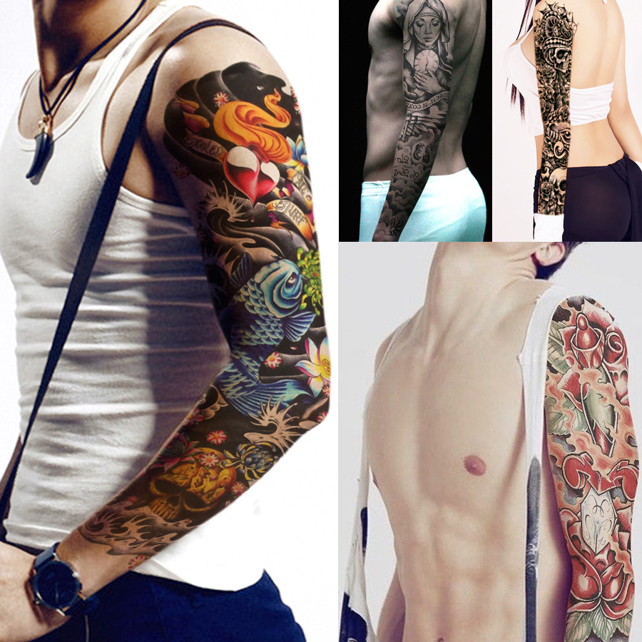 Pattern waterproof arm sleeve body shoulder temporary tattoo sticker - 1 Piece Temporary Tattoo Sticker Wave Lotus Dragon Pattern Waterproof Full Flower Arm Body Art Fake Tattoo Sticker Decal Qb 3033 In Temporary Tattoos From