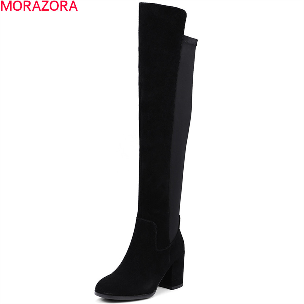 MORAZORA 2018 fashio women boots square toe zipper cow suede ladies boots leather square heel autumn winter over the knee boots