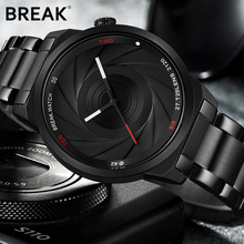 лучшая цена BREAK Photographer Series Unique Camera Style Stainless Strap Men Women Casual Fashion Sport Quartz Modern Gift Wrist Watches