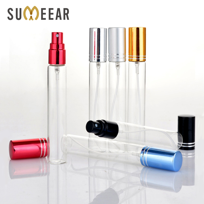100Piece/Lot 10ml Refillable Perfume Bottle Empty Mini Spray Bottle Aluminium Perfume Bottles Atomizer For Travel Container Pump