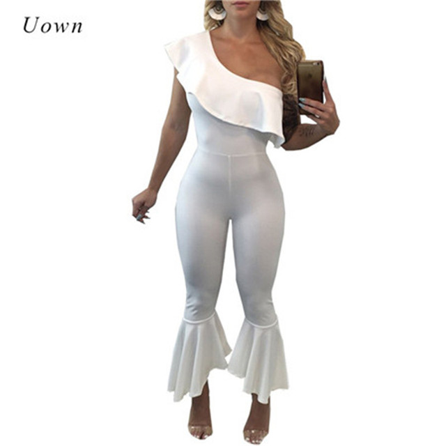 b09ded2bc96 2018 Fashion One Shoulder Jumpsuit Ruffle Flare Pants Long Jumpsuits Sexy  Overall Party Club Bodycon Rompers