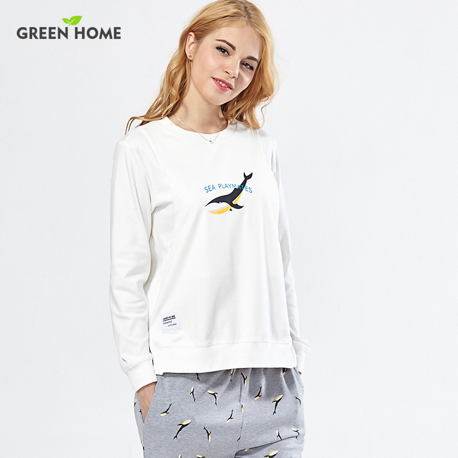 Green Home Simple Printing Long Sleeve Round Neckline Nursing Pajamas Suit Maternity Sleepwear Set for Breastfeeding