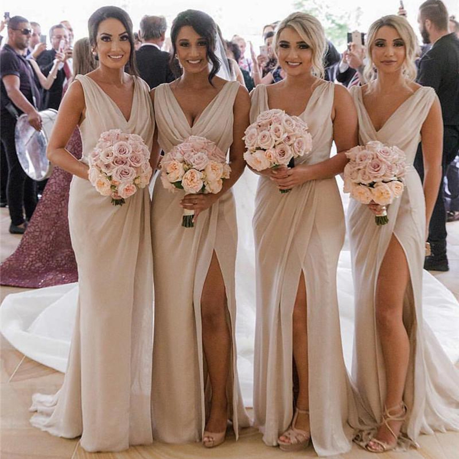V Neck Chiffon Mermaid Long Cheap Bridesmaids Dresses Ruched Split Summer Beach Wedding Guest Plus Size Maid Of Honor Dresses