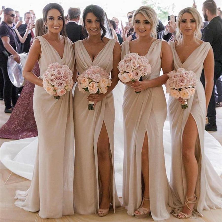 V Neck Chiffon Mermaid Long Cheap Bridesmaids Dresses Ruched Split ...