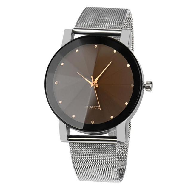 Fashion Women Simple Dress Watch Crystal Stainless Steel Analog Quartz Wrist Watch Women Bracelet Watches Relojes Mujer