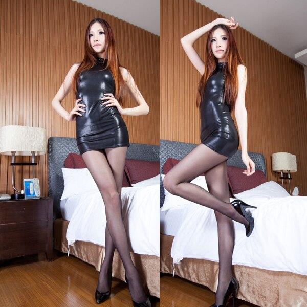 3620b57400d 높은 품질의 여성 섹시한 가죽 미니 드레스 nightwear 블랙 페티쉬 라텍스 드레스 광택 스트레치 catsuit
